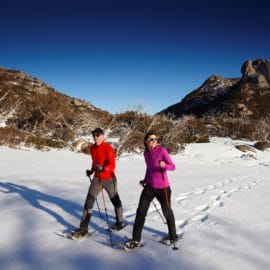 Snow shoeing at Mount buffalo